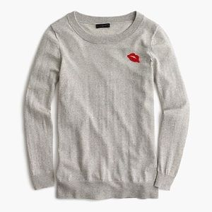 NWT J.Crew Tippi Sweater with Embroidered Lips
